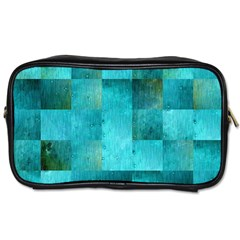 Background Squares Blue Green Toiletries Bags
