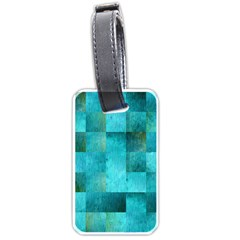 Background Squares Blue Green Luggage Tags (one Side)