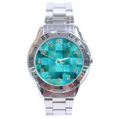 Background Squares Blue Green Stainless Steel Analogue Watch by Nexatart