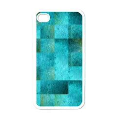 Background Squares Blue Green Apple Iphone 4 Case (white)
