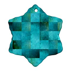 Background Squares Blue Green Ornament (snowflake)