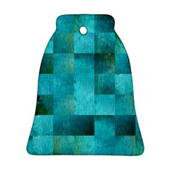 Background Squares Blue Green Ornament (bell)