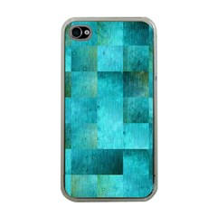 Background Squares Blue Green Apple Iphone 4 Case (clear)