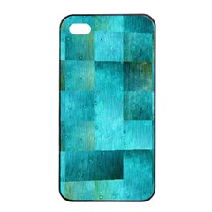 Background Squares Blue Green Apple Iphone 4/4s Seamless Case (black)