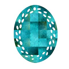 Background Squares Blue Green Ornament (oval Filigree)