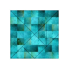 Background Squares Blue Green Acrylic Tangram Puzzle (4  X 4 )