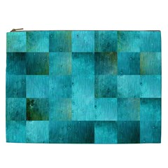 Background Squares Blue Green Cosmetic Bag (xxl)