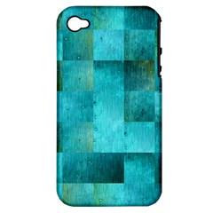 Background Squares Blue Green Apple Iphone 4/4s Hardshell Case (pc+silicone) by Nexatart