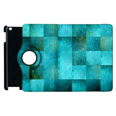 Background Squares Blue Green Apple Ipad 3/4 Flip 360 Case