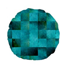 Background Squares Blue Green Standard 15  Premium Round Cushions