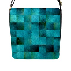 Background Squares Blue Green Flap Messenger Bag (l)  by Nexatart