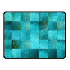 Background Squares Blue Green Double Sided Fleece Blanket (small)