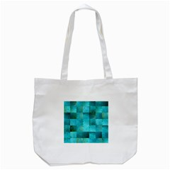 Background Squares Blue Green Tote Bag (white)