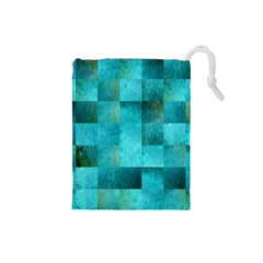 Background Squares Blue Green Drawstring Pouches (small)  by Nexatart