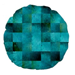 Background Squares Blue Green Large 18  Premium Flano Round Cushions