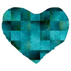 Background Squares Blue Green Large 19  Premium Flano Heart Shape Cushions