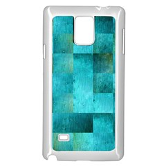 Background Squares Blue Green Samsung Galaxy Note 4 Case (white)