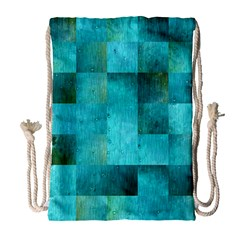 Background Squares Blue Green Drawstring Bag (large)
