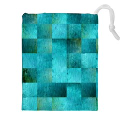 Background Squares Blue Green Drawstring Pouches (xxl) by Nexatart