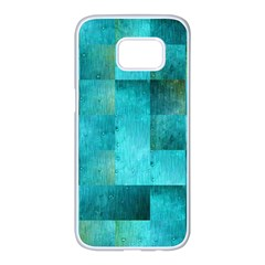 Background Squares Blue Green Samsung Galaxy S7 Edge White Seamless Case by Nexatart