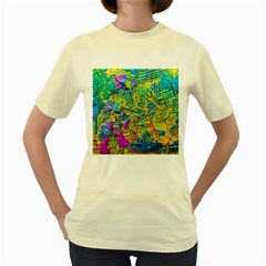 Background Art Abstract Watercolor Women s Yellow T Shirt