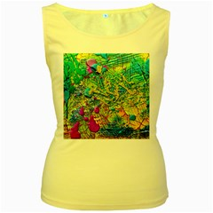 Background Art Abstract Watercolor Women s Yellow Tank Top