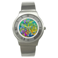 Background Art Abstract Watercolor Stainless Steel Watch by Nexatart