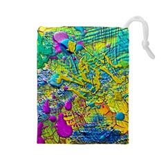Background Art Abstract Watercolor Drawstring Pouches (large)  by Nexatart