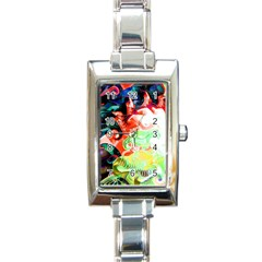 Background Art Abstract Watercolor Rectangle Italian Charm Watch