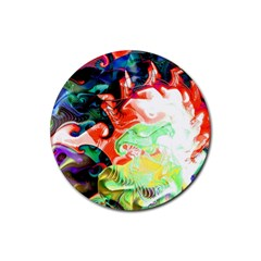 Background Art Abstract Watercolor Rubber Round Coaster (4 Pack)