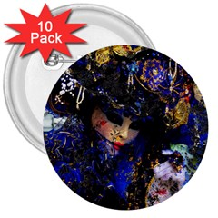 Mask Carnaval Woman Art Abstract 3  Buttons (10 Pack)