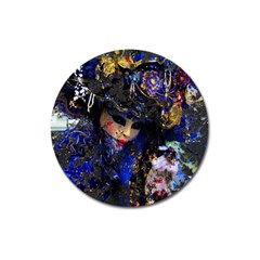 Mask Carnaval Woman Art Abstract Magnet 3  (round) by Nexatart