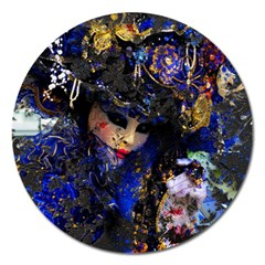 Mask Carnaval Woman Art Abstract Magnet 5  (round)