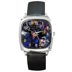 Mask Carnaval Woman Art Abstract Square Metal Watch