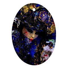 Mask Carnaval Woman Art Abstract Oval Ornament (two Sides)