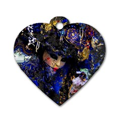 Mask Carnaval Woman Art Abstract Dog Tag Heart (one Side)