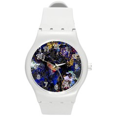Mask Carnaval Woman Art Abstract Round Plastic Sport Watch (m)