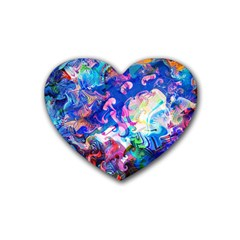 Background Art Abstract Watercolor Rubber Coaster (heart)
