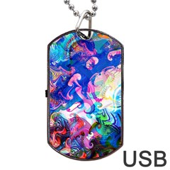 Background Art Abstract Watercolor Dog Tag Usb Flash (one Side)