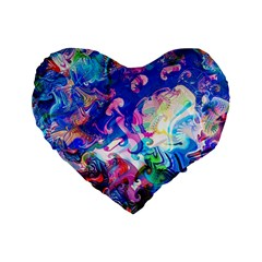 Background Art Abstract Watercolor Standard 16  Premium Flano Heart Shape Cushions by Nexatart
