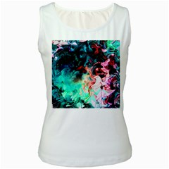 Background Art Abstract Watercolor Women s White Tank Top