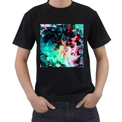 Background Art Abstract Watercolor Men s T Shirt (black) (two Sided)