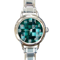 Background Squares Metal Green Round Italian Charm Watch