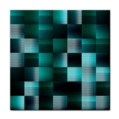 Background Squares Metal Green Tile Coasters