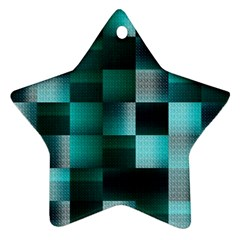 Background Squares Metal Green Ornament (star)