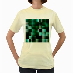Background Squares Metal Green Women s Yellow T Shirt