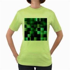 Background Squares Metal Green Women s Green T Shirt