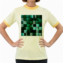 Background Squares Metal Green Women s Fitted Ringer T Shirts