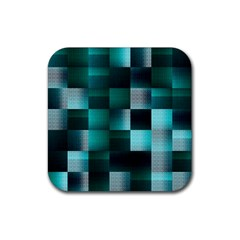 Background Squares Metal Green Rubber Square Coaster (4 Pack)  by Nexatart