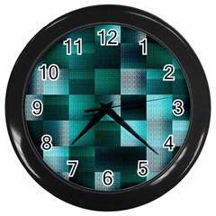 Background Squares Metal Green Wall Clocks (black)